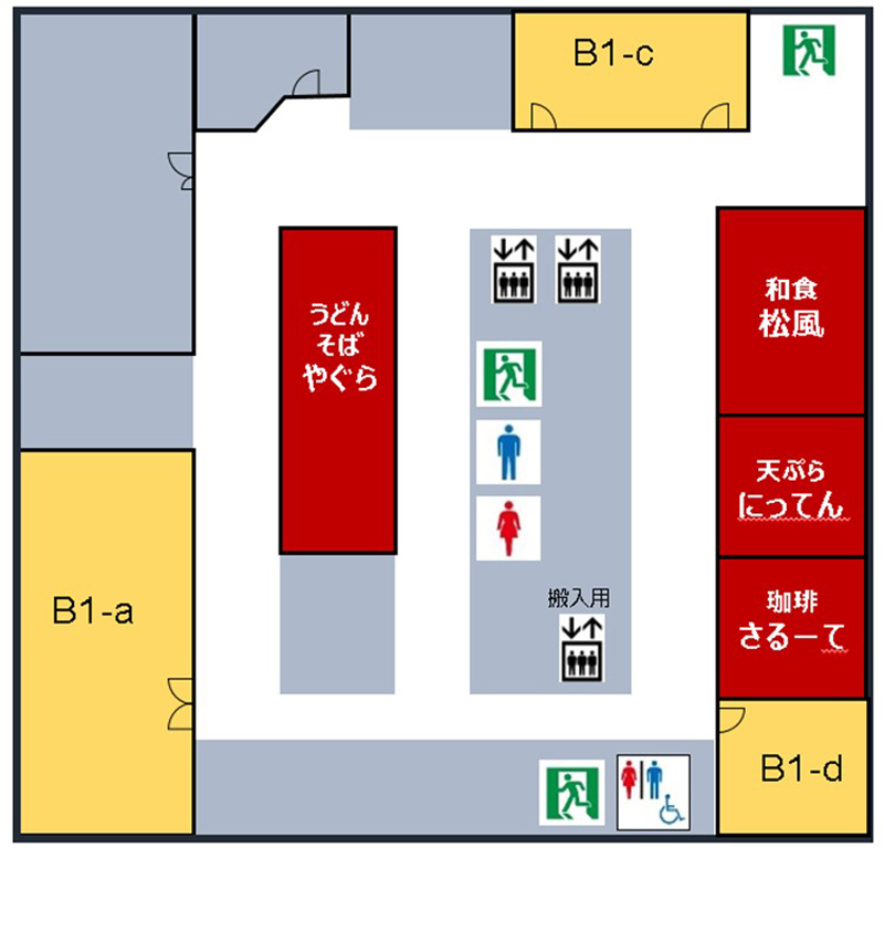 会議所ビルの地下1階食堂街マップ